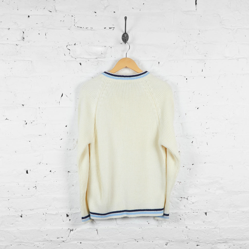 Vintage Fred Perry V Neck Jumper - Cream - S