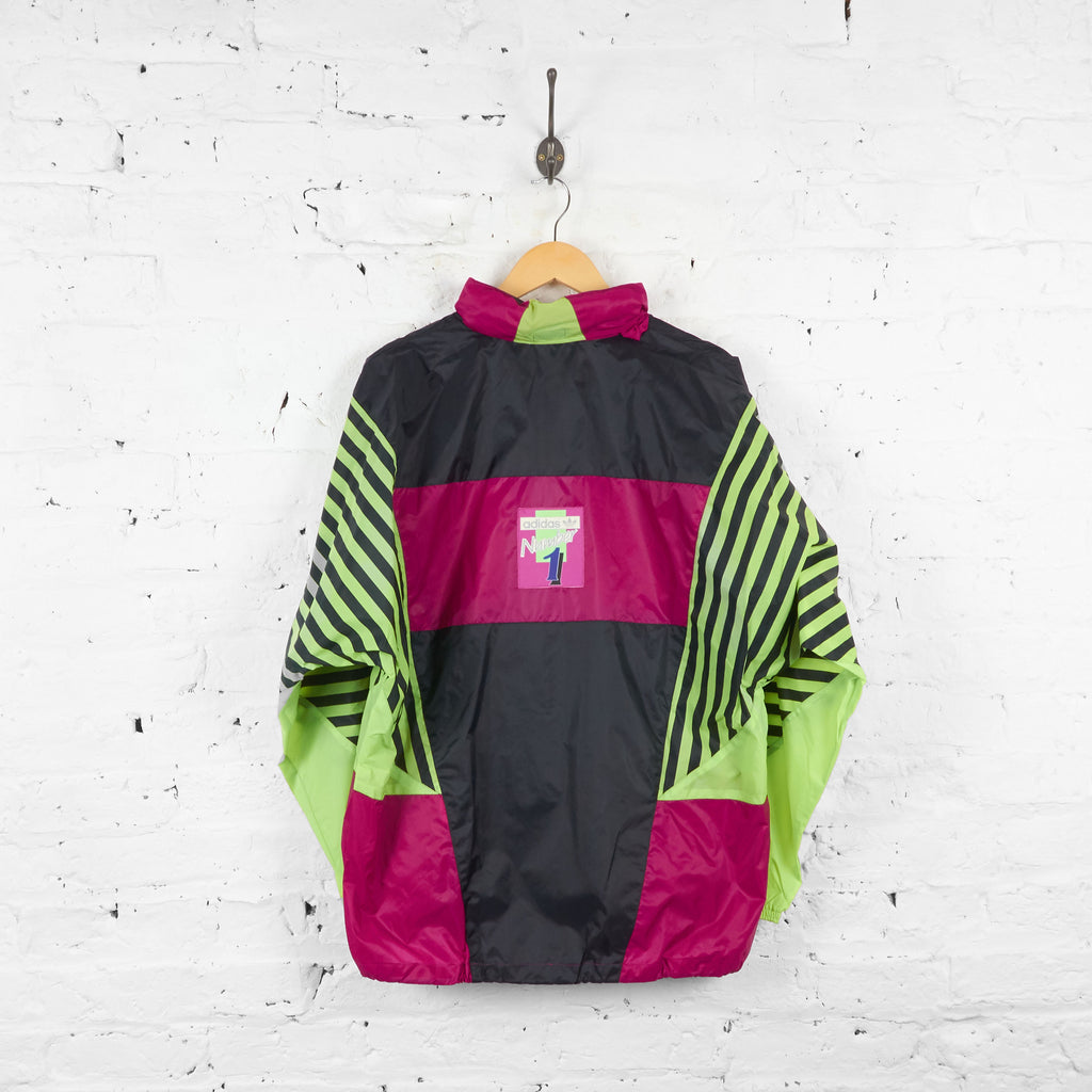 Vintage Patchwork Adidas Neon Cagoule Jacket - Green/Pink/Black - XL