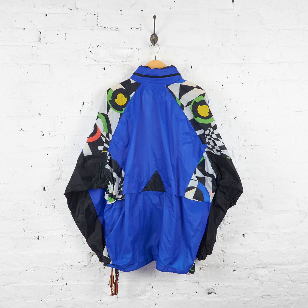 Vintage Patterned K-Way Cagoule Jacket - Blue/Black - XXL