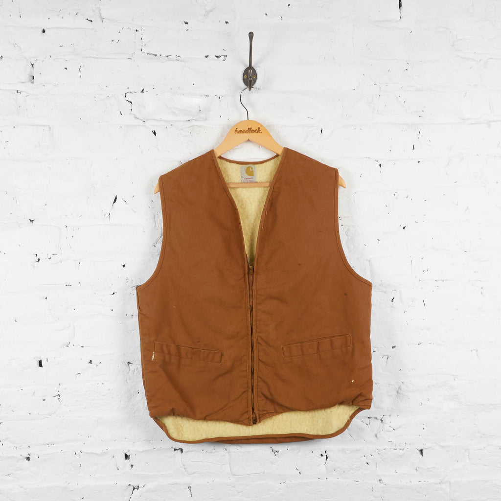 Vintage Teddy Bear Fleece Lined Carhartt Gilet - Brown - L