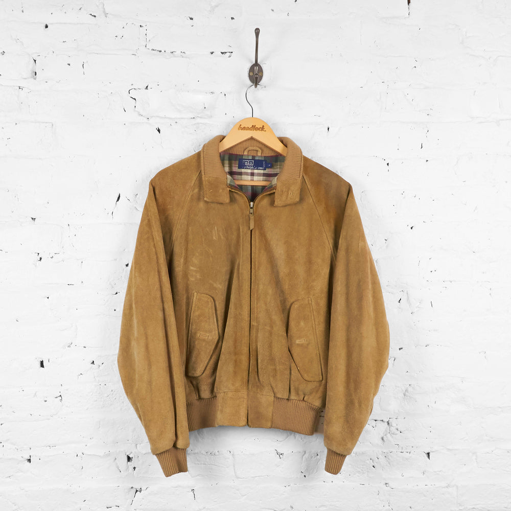 Vintage Suede Ralph Lauren Polo Bomber Jacket - Brown - M