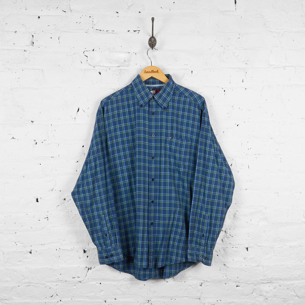 Vintage Tommy Hilfiger Checked Shirt - Blue - L