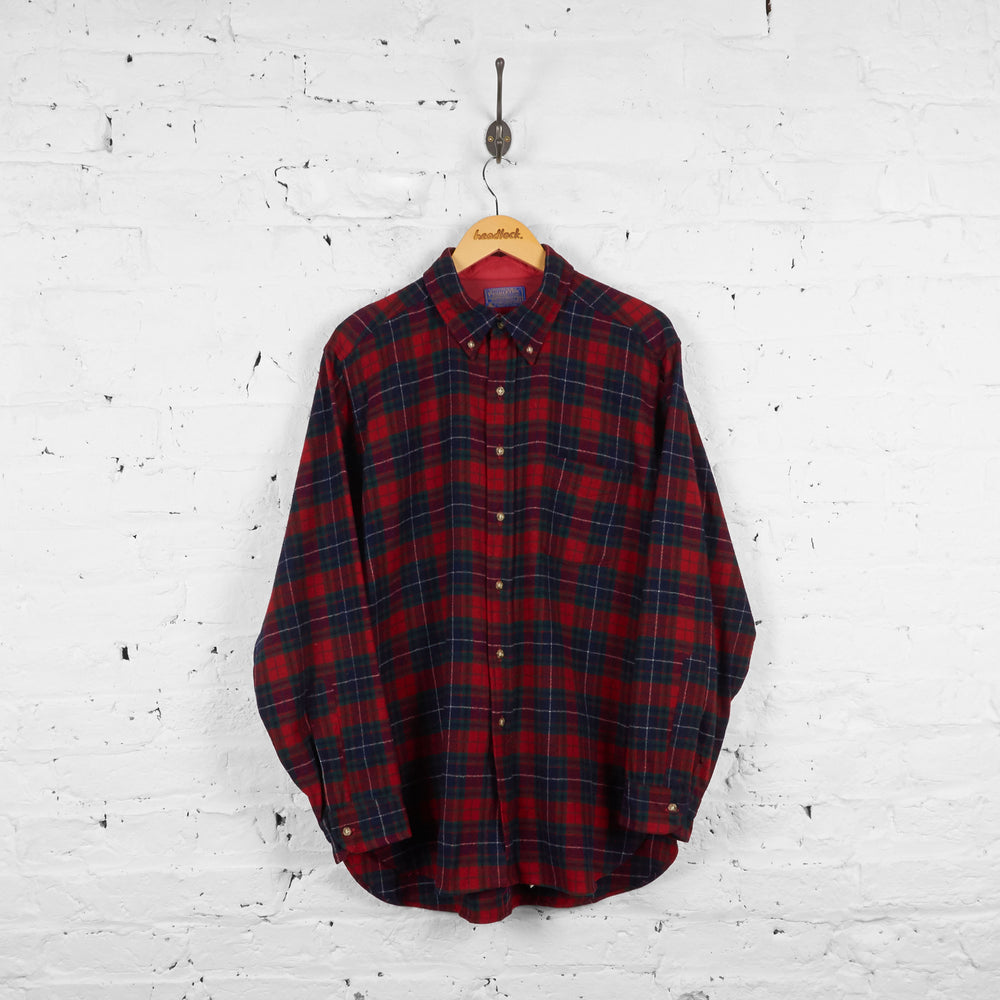 Vintage Pendleton Checked Wool Shirt - Red/Green - L