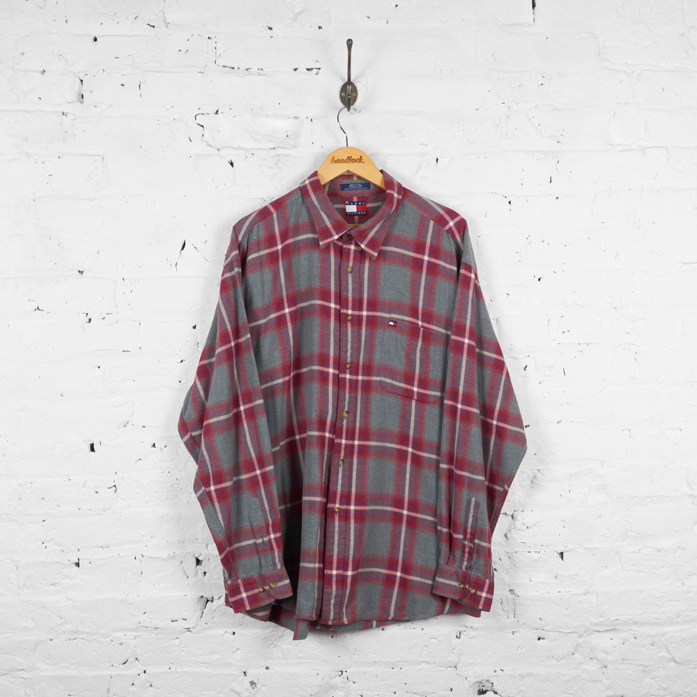 Vintage Tommy Hilfiger Checked Shirt - Grey/Red - L
