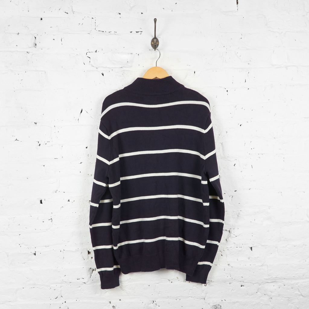 Vintage Striped Polo Jeans Company 1/4 Zip Up Jumper - Navy/White - XL