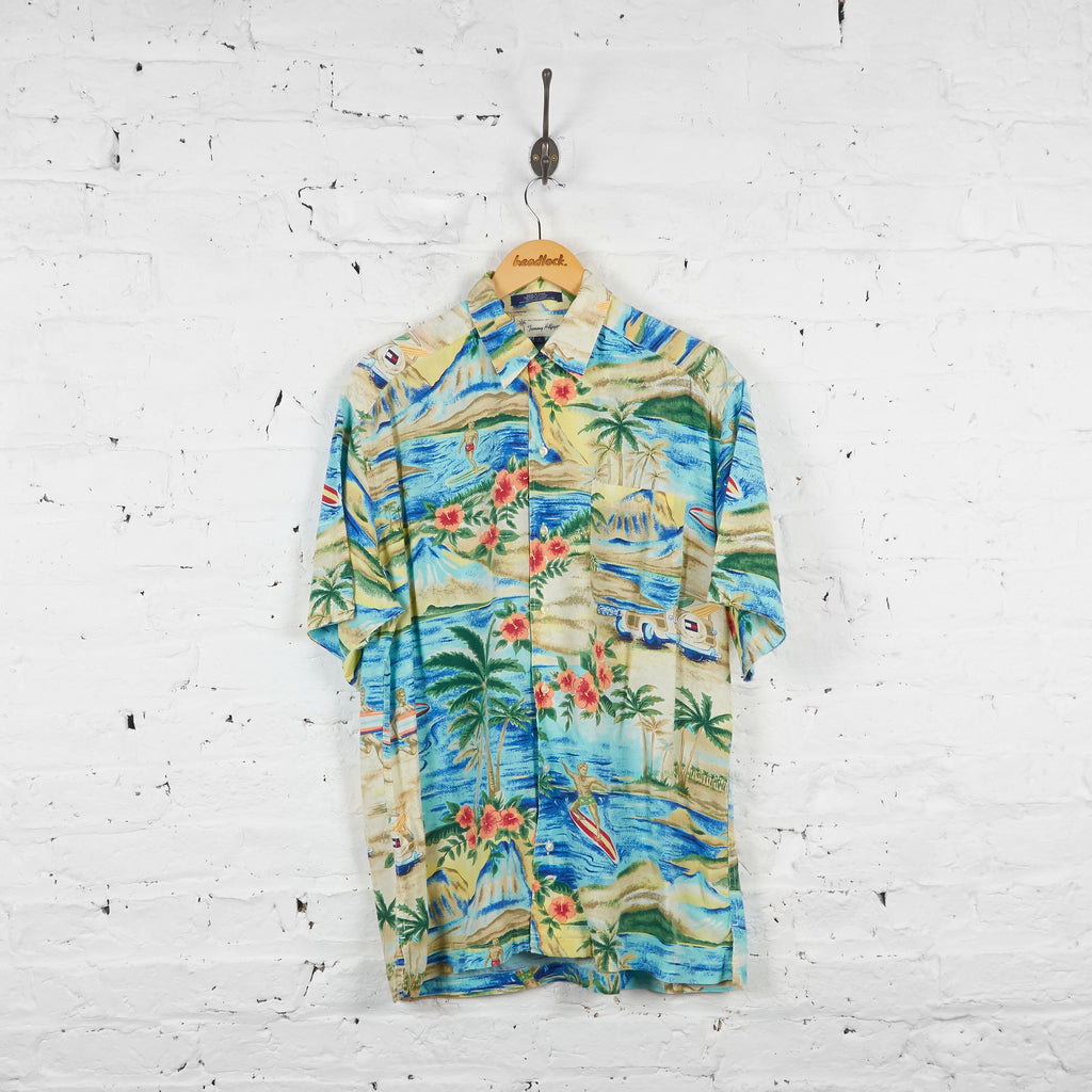 Vintage Hawaaian Tommy Hilfiger Shirt - Green/Blue - M