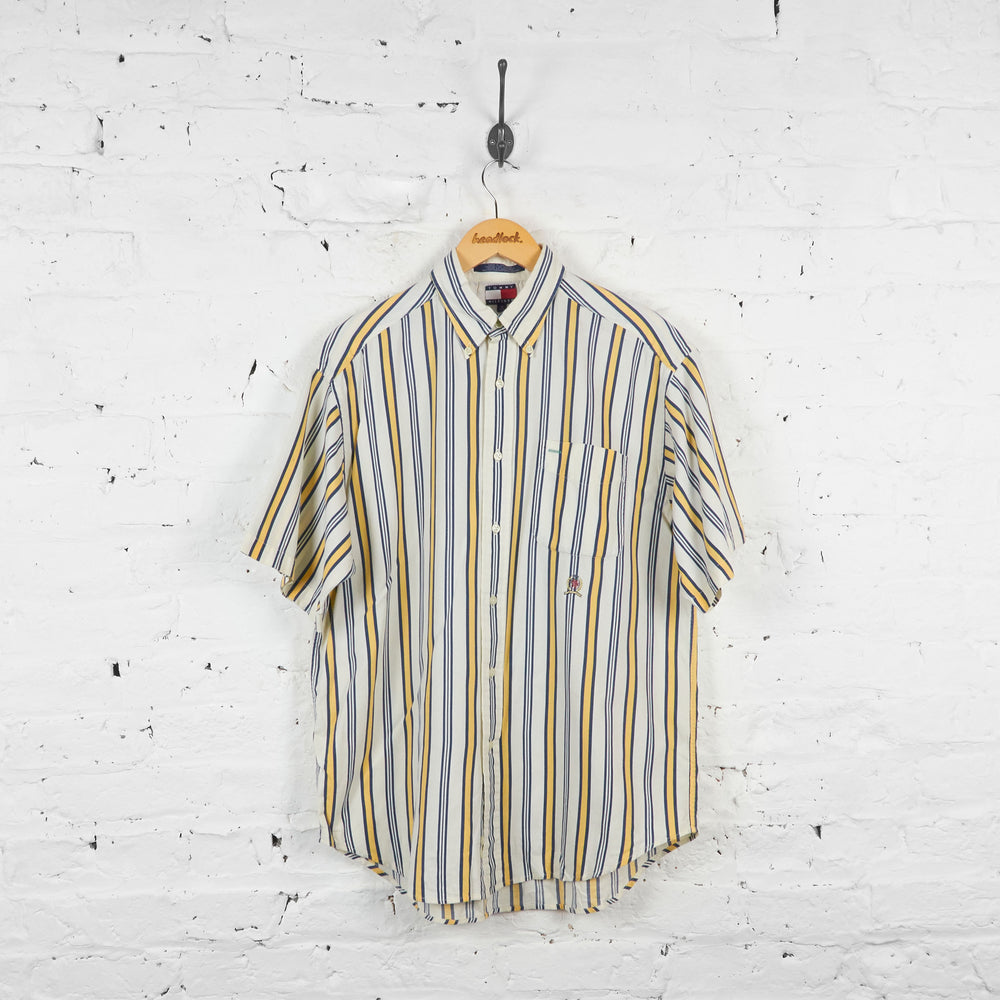 Vintage Tommy Hilfiger Striped Shirt - Blue/Yellow - M
