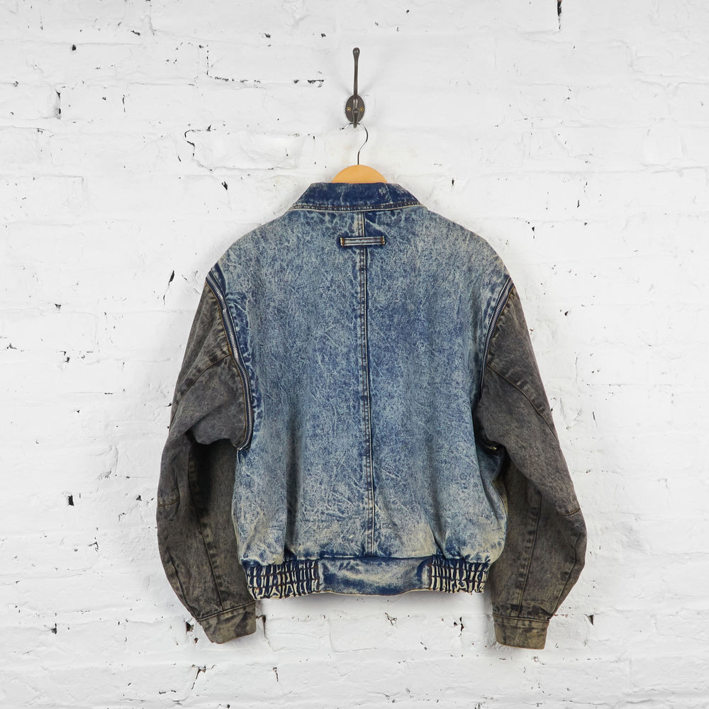 Vintage Levi's Acid Denim Bomber Jacket - Blue/Grey - XL