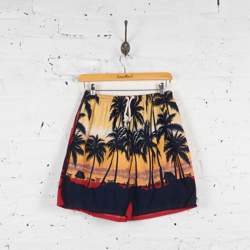 Vintage Palm Trees Shorts - Black/Red - S