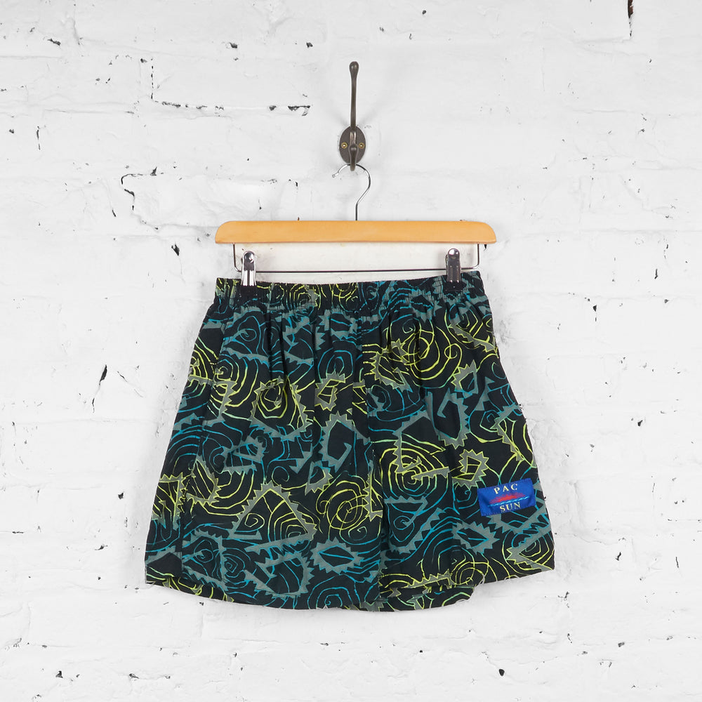 Vintage Patterned Beach Shorts - Black/Yellow/Blue - M