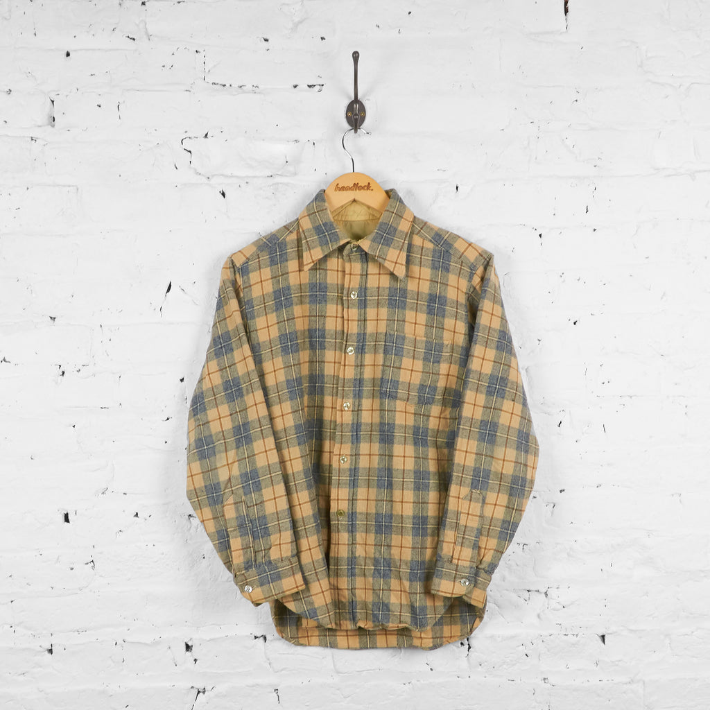 Vintage Pendleton Wool Flannel Shirt - Cream/Blue - M