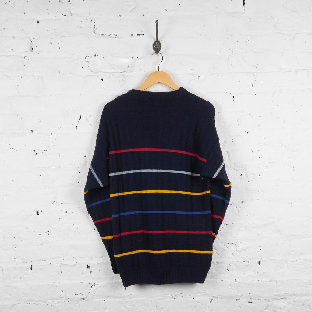 Vintage Striped Jumper - Black/Red/Yellow - L