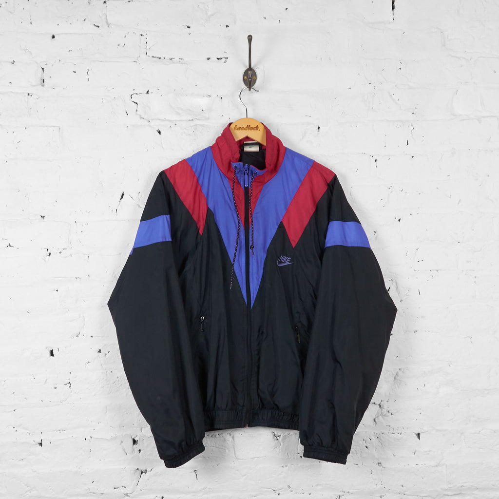 Vintage Nike Patterned Shell Jacket - Black/Red - M