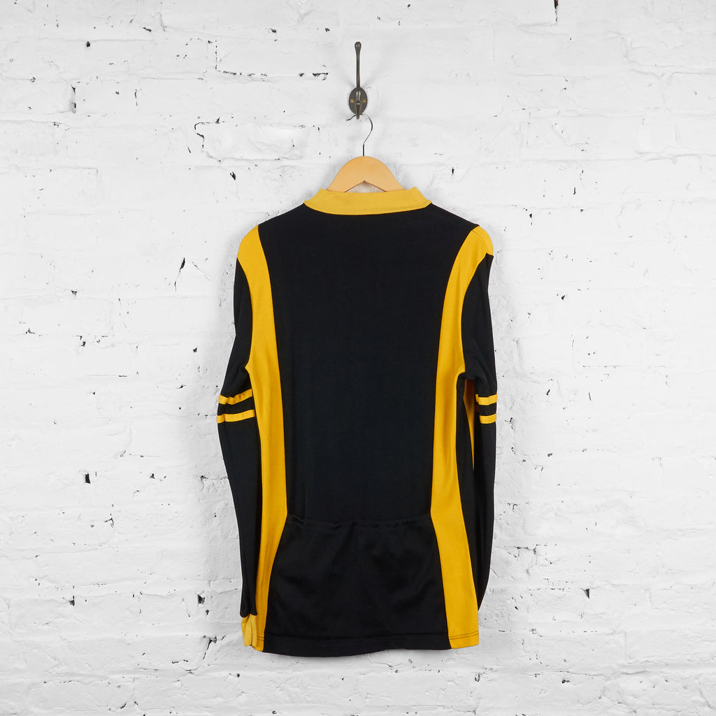 Vintage Gonso Cycling 1/4 Zip Up Jumper - Black/Yellow - XL