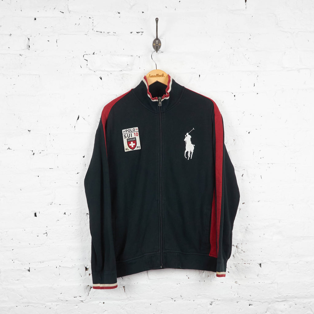 Vintage Ralph Lauren Polo Tracksuit Top - Black/Red - XL