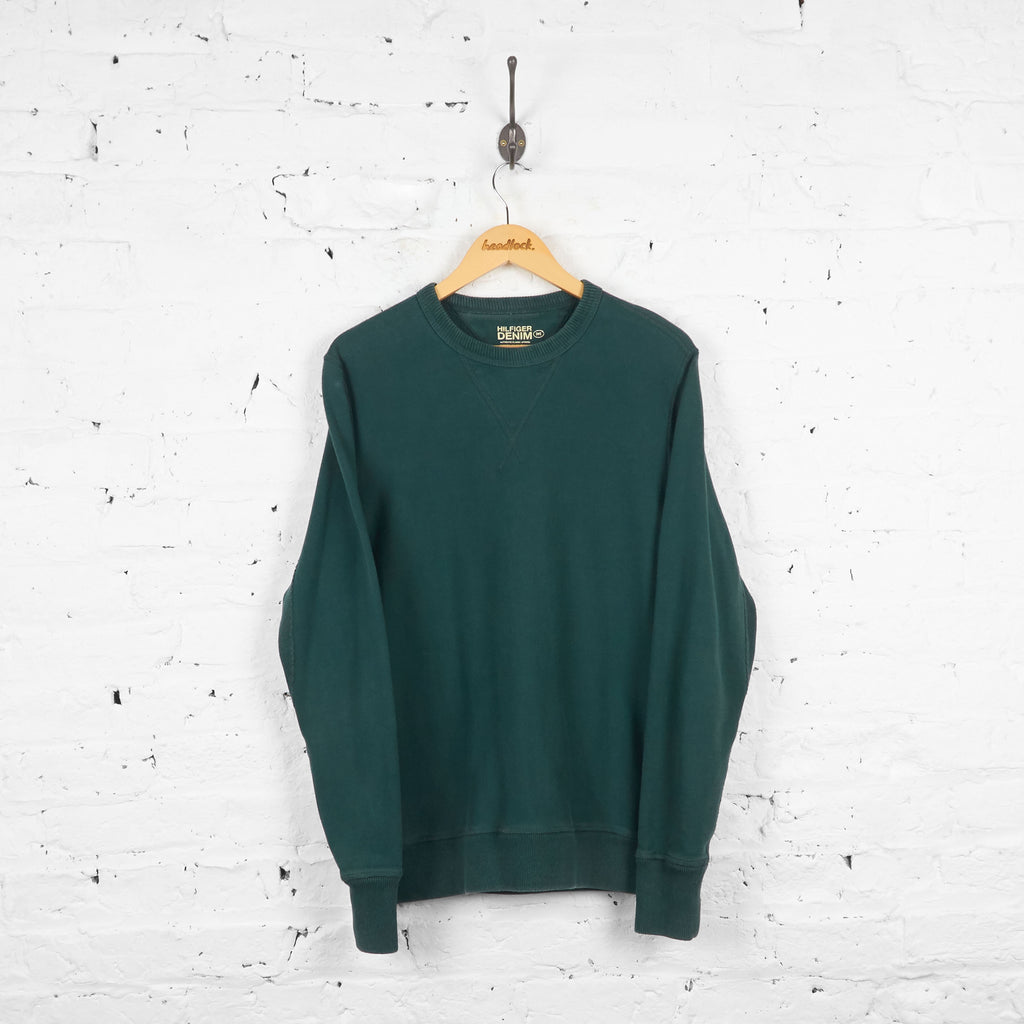 Vintage Hilfiger Denim Sweatshirt - Green - M