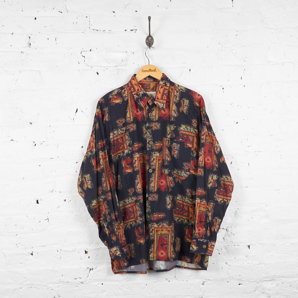 Vintage Patterned Shirt - Black/Yellow - L