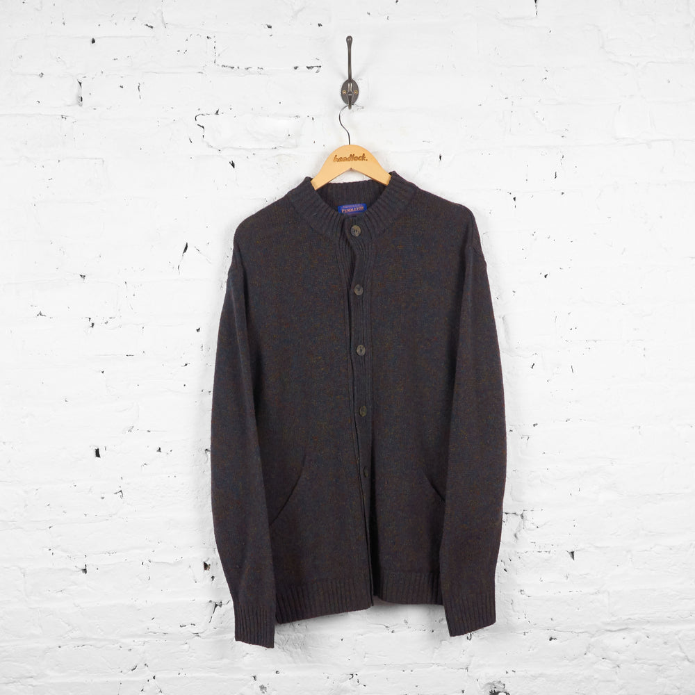 Vintage Pendleton Wool Cardigan - Grey/Blue - L