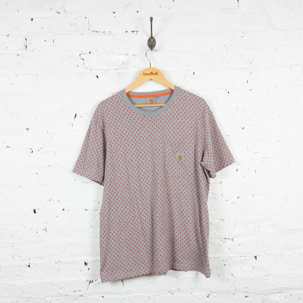 Vintage Polka Dott Carhartt T-shirt - Grey/Orange - XL
