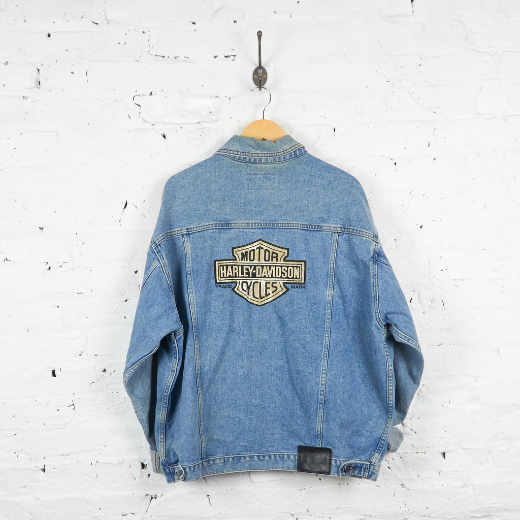 Vintage Harley Davidson Denim Jacket - Blue - L