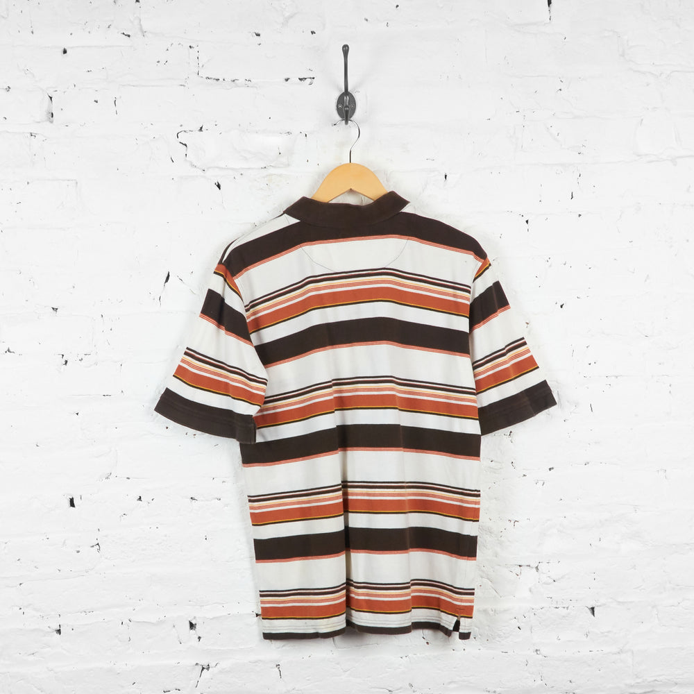Vintage Dickies Striped Polo Shirt - Brown/White - L