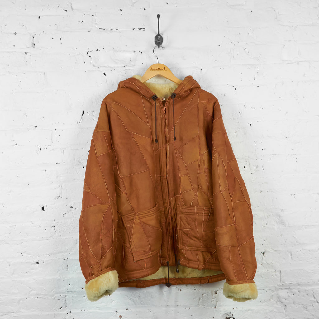 Vintage Sheepskin Style Fleece Lined Jacket - Brown - L