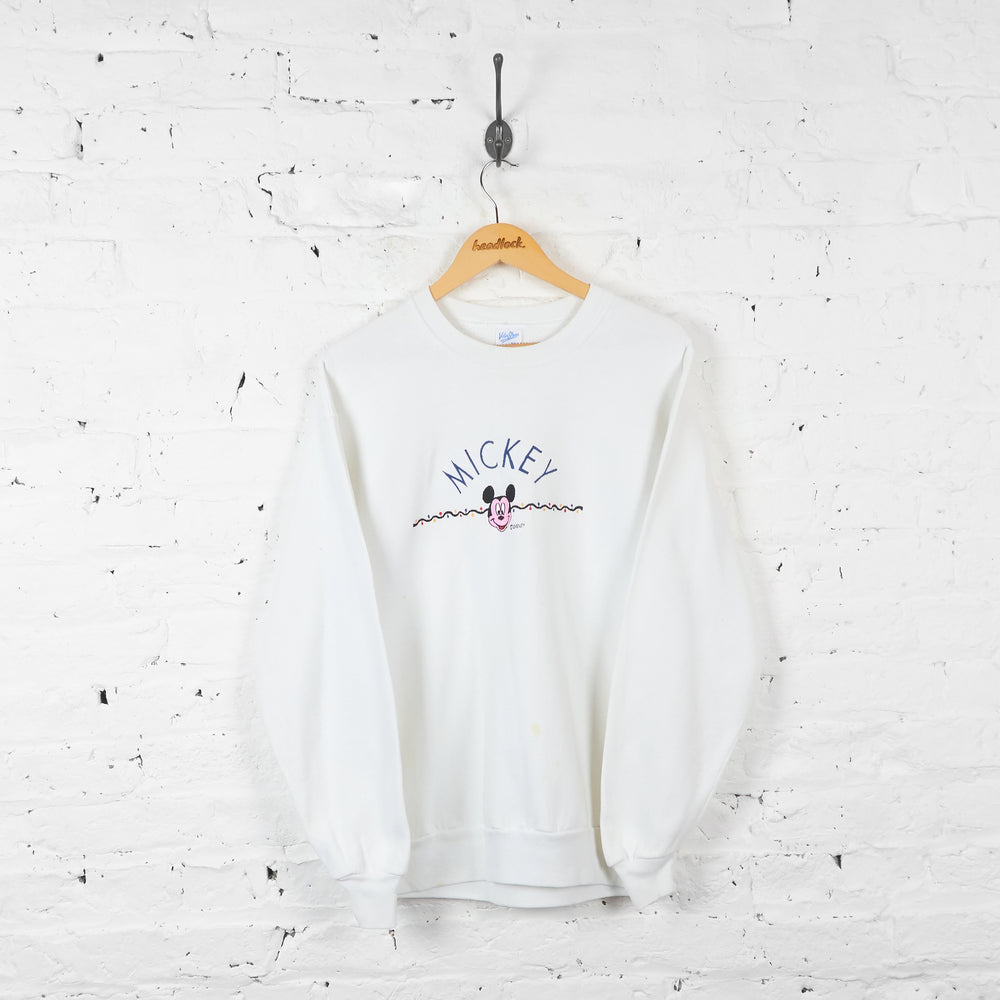 Vintage Mickey Mouse Sweatshirt - White - L