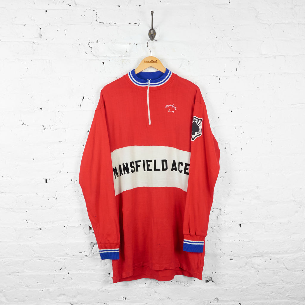 Vintage Mansfield Aces Cotton Knit Cycling Top Jersey - Red - L