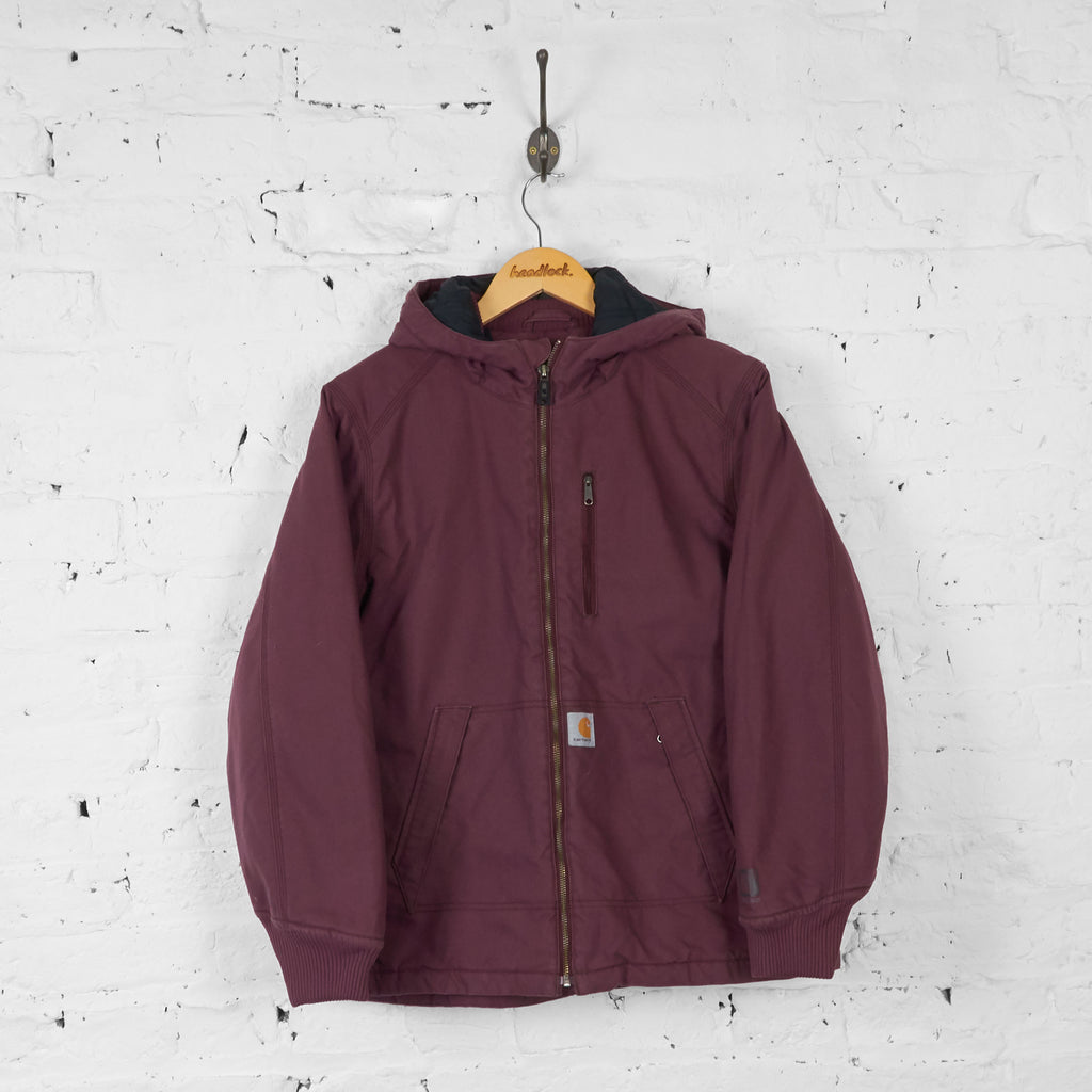 Womens Carhartt Quick Duck Hooded Jacket - Maroon - Womens L