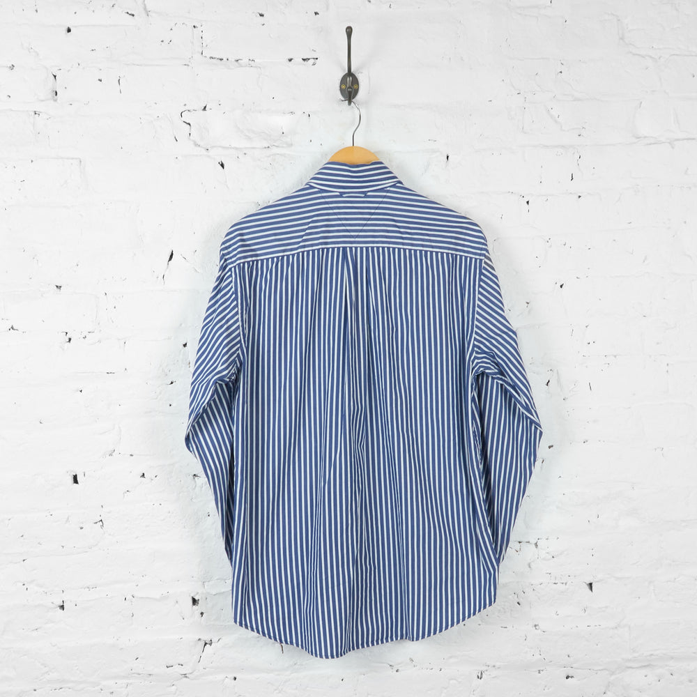 Vintage Striped Tommy Hilfiger Shirt - Blue/White - S
