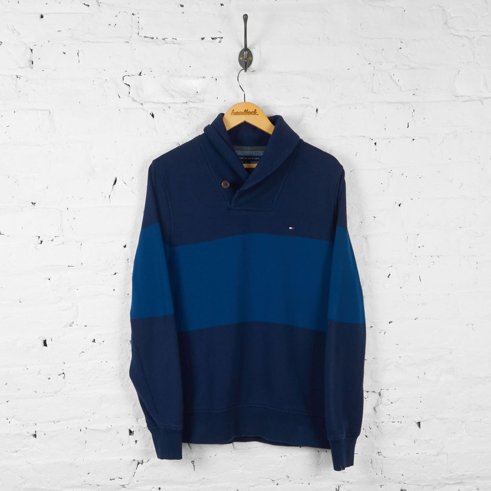 Vintage Striped Tommy Hilfiger Sweatshirt Jumper - Blue - S