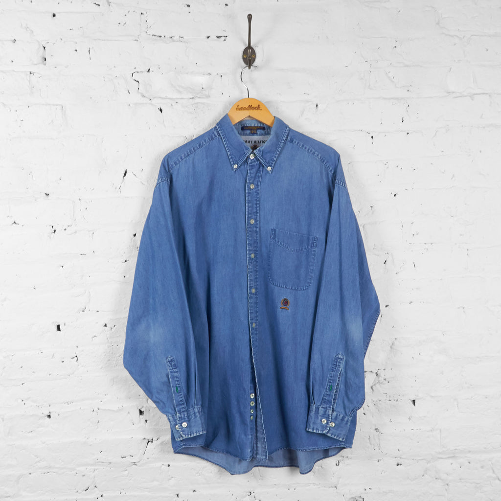 Vintage Tommy Hilfiger Denim Look Shirt - Blue - XL