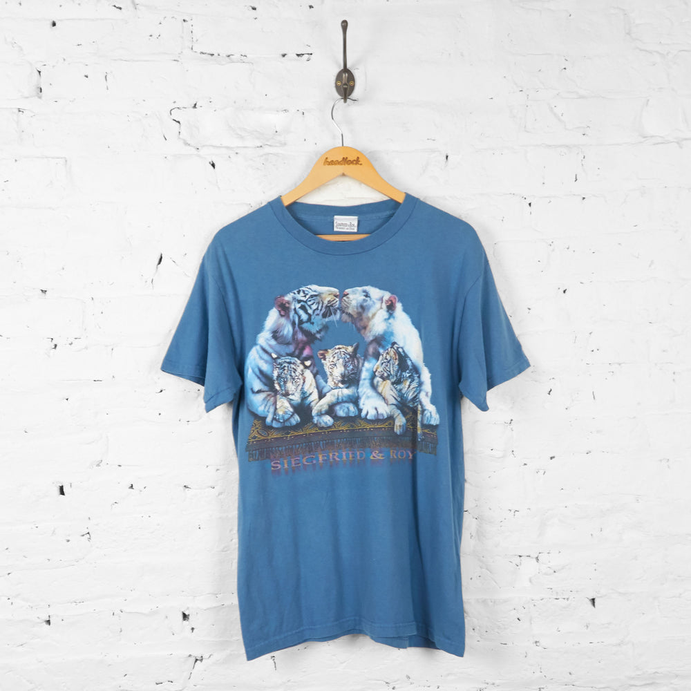 Vintage Tie Dye Siegfried And Roy T-shirt - Blue - M