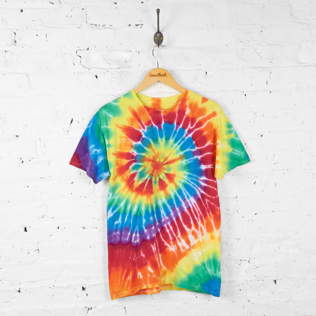Vintage Tie Dye Camp T-shirt - Yellow/Red - M