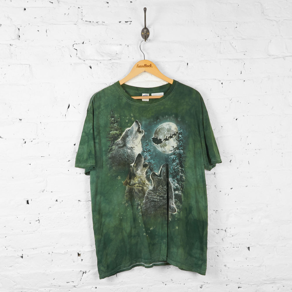 Vintage Tie Dye Wolf Christmas T-shirt - Green - XL