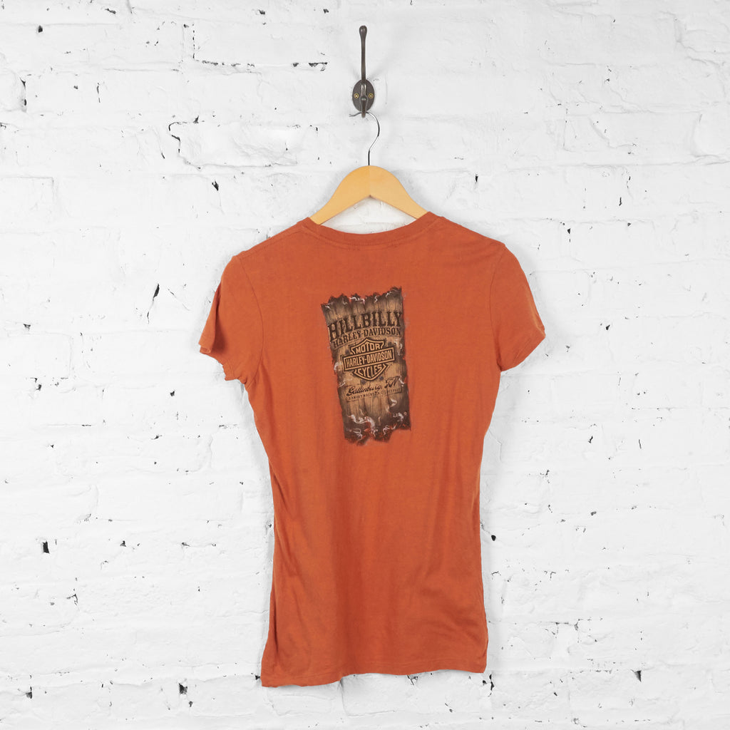Vintage Women's Harley Davidson T-shirt - Orange - M - Headlock