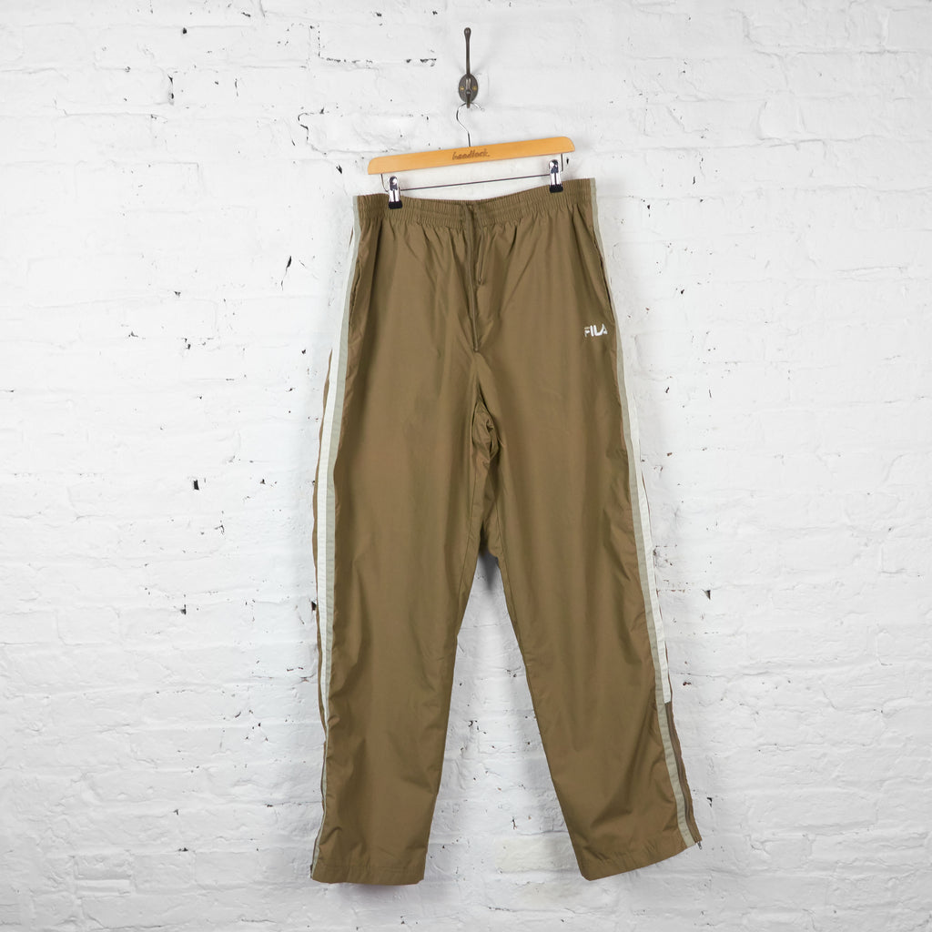Vintage Fila Shell Tracksuit Bottoms - Brown - L - Headlock