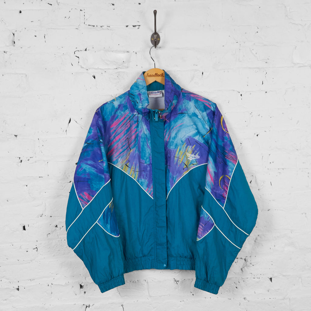 Vintage Patterned Reebok Windbreaker Jacket - Blue - L