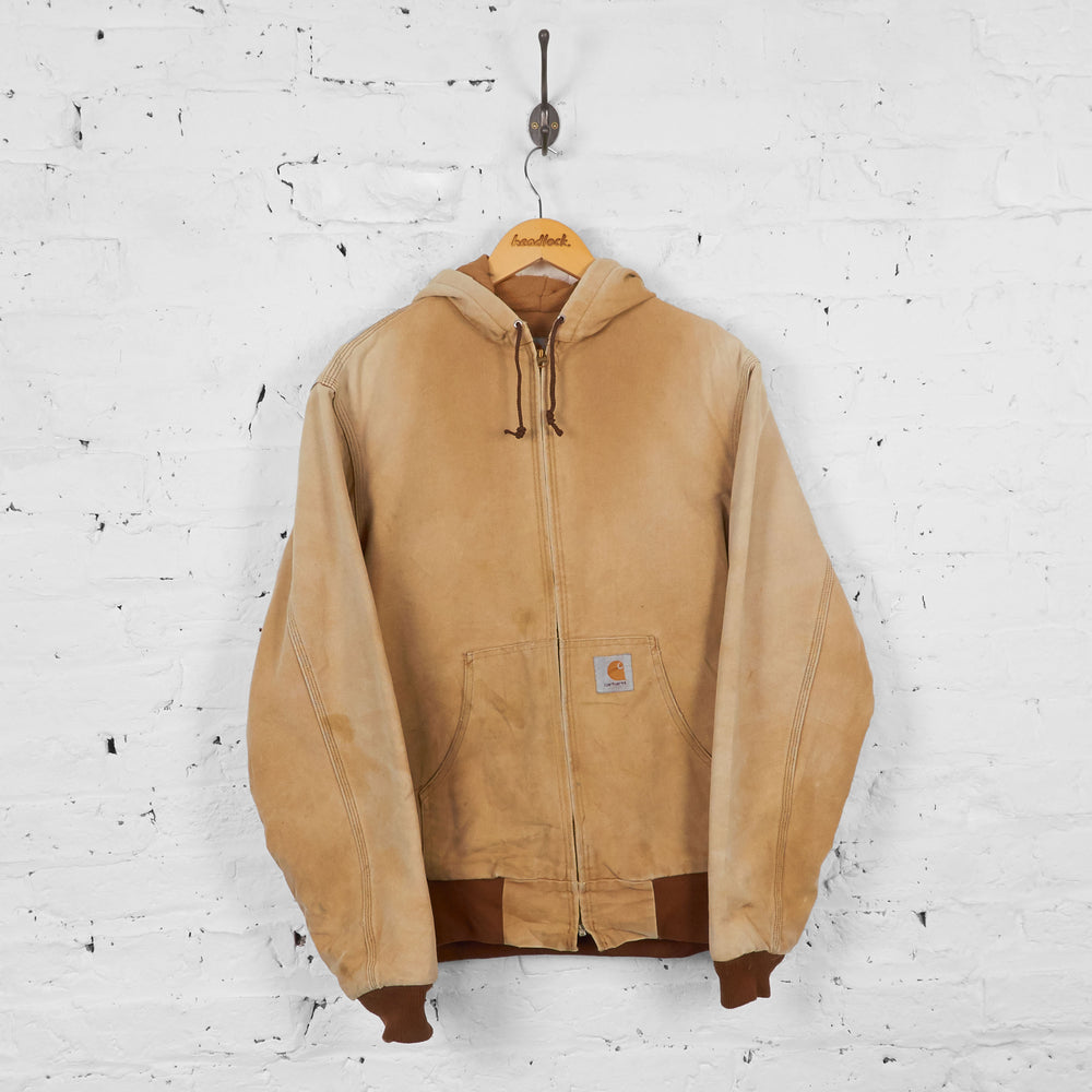 Vintage Hooded Carhartt Workwear Jacket - Beige - M