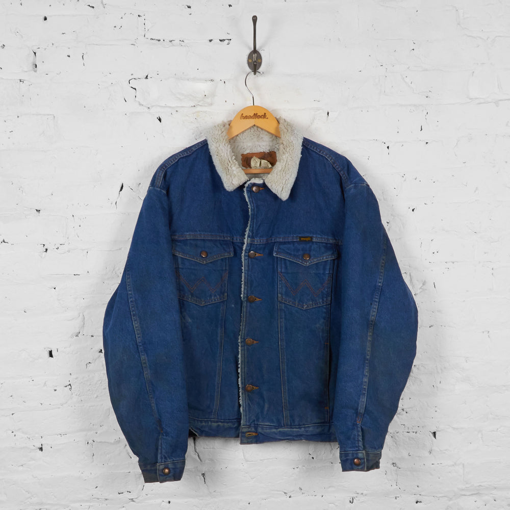 Vintage Denim Wrangler Fleece Lined Jacket - Blue - XL