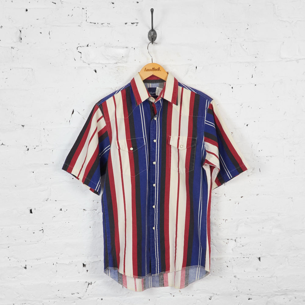Vintage Striped Wrangler Shirt - Blue/Red - M