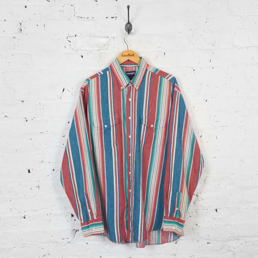 Vintage Striped Wrangler Shirt - Red/Blue - XL