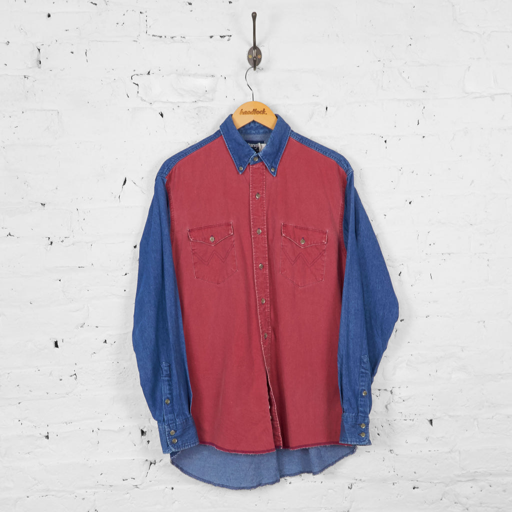 Vintage Colour Block Wrangler Shirt - Red/Blue - L