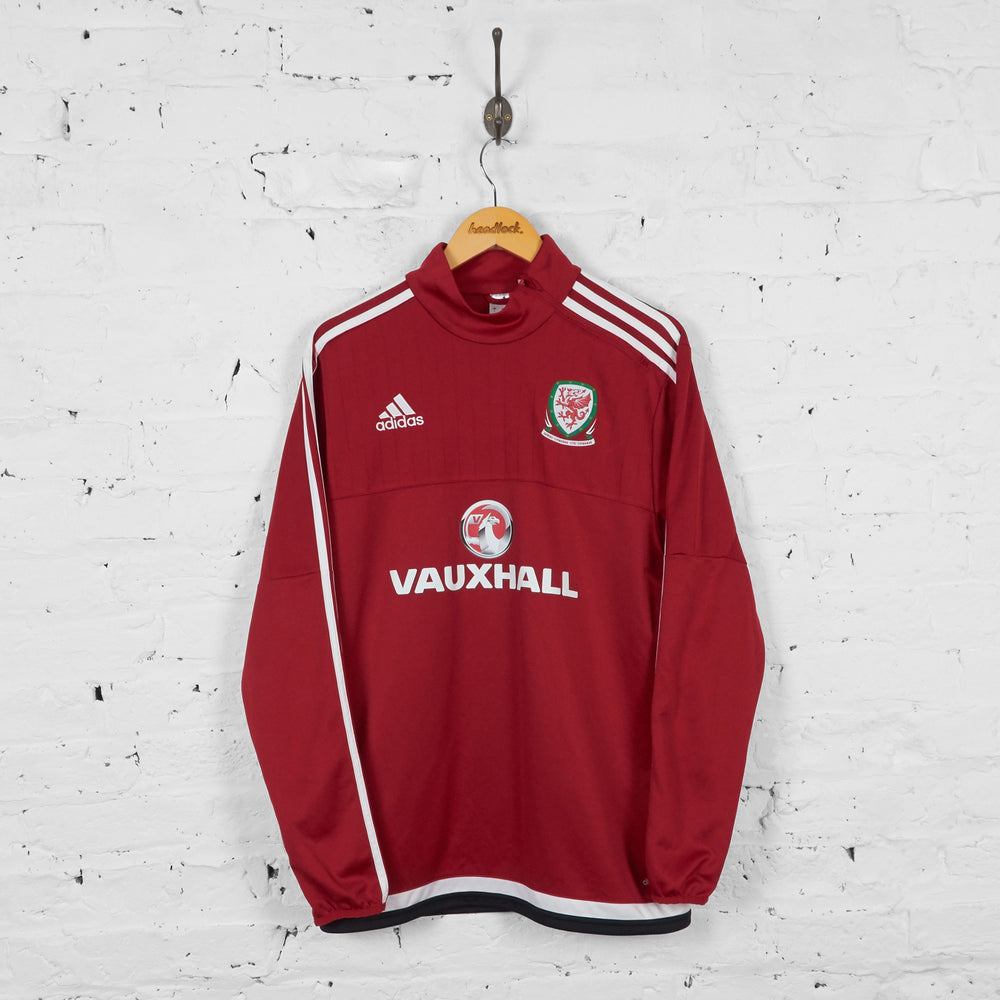 Wales Football Adidas Training Tracksuit Top Sweatshirt - Red - L