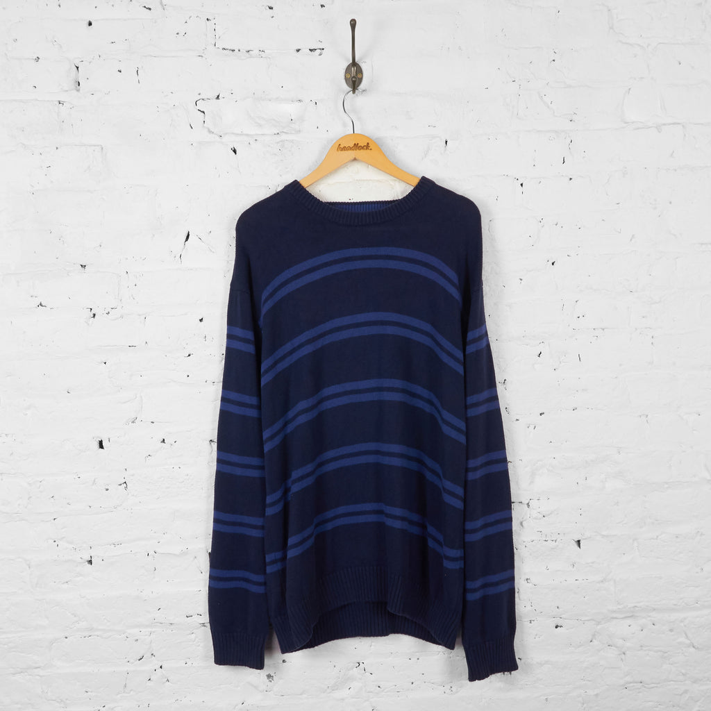 Vintage Striped Tommy Hilfiger Jumper - Navy - XL
