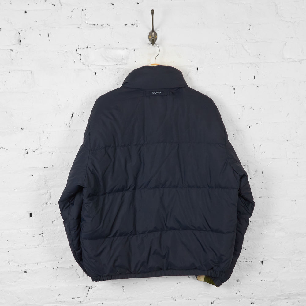 Vintage Nautica Reversible Puffa Jacket - Navy/Cream - XL