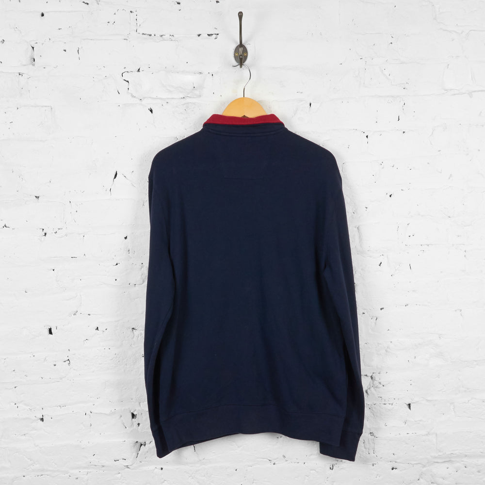 Vintage Nautica Zip Up Sweatshirt - Blue/Red - XL