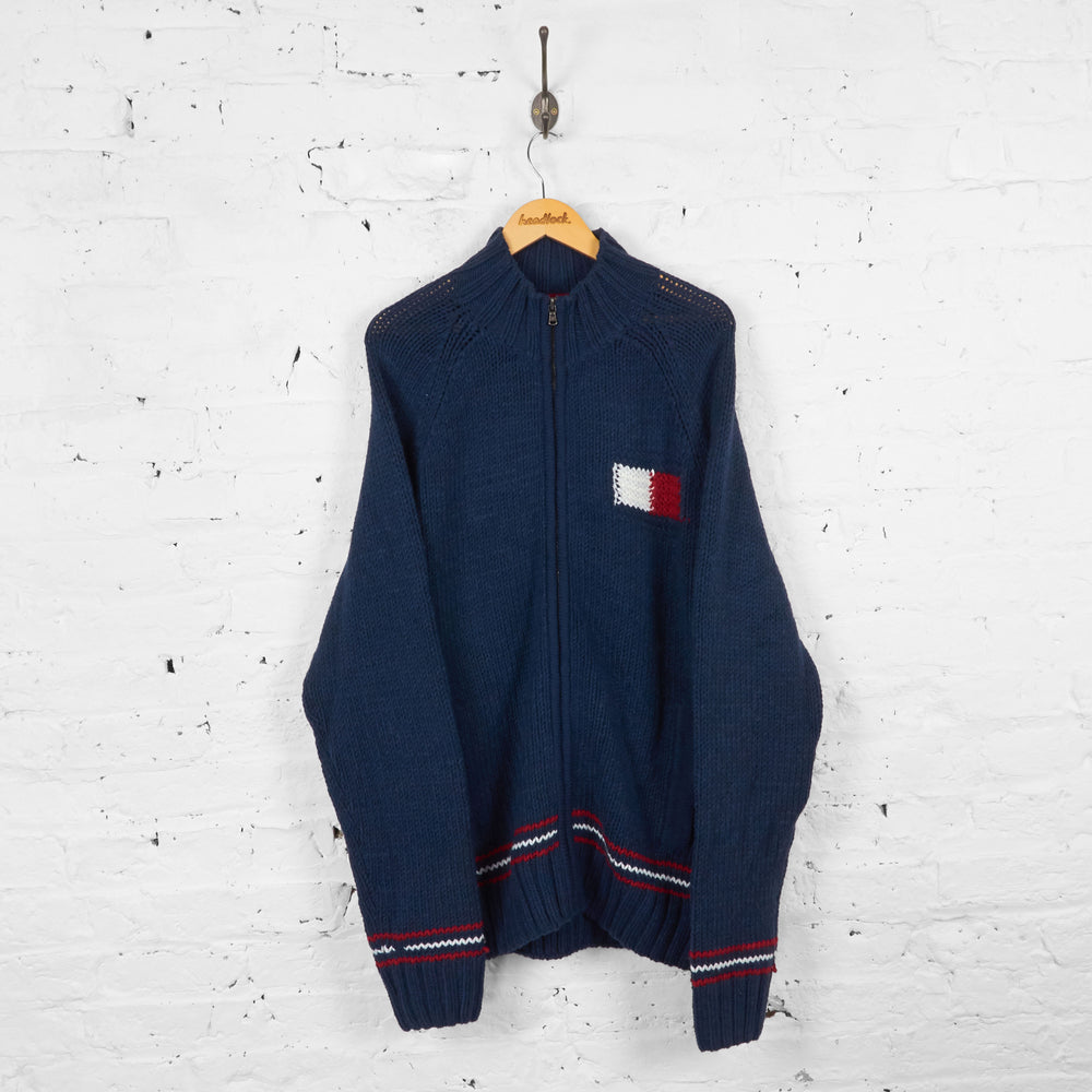 Vintage Tommy Hilfiger Zip Up Knitted Jacket - Navy - XXL