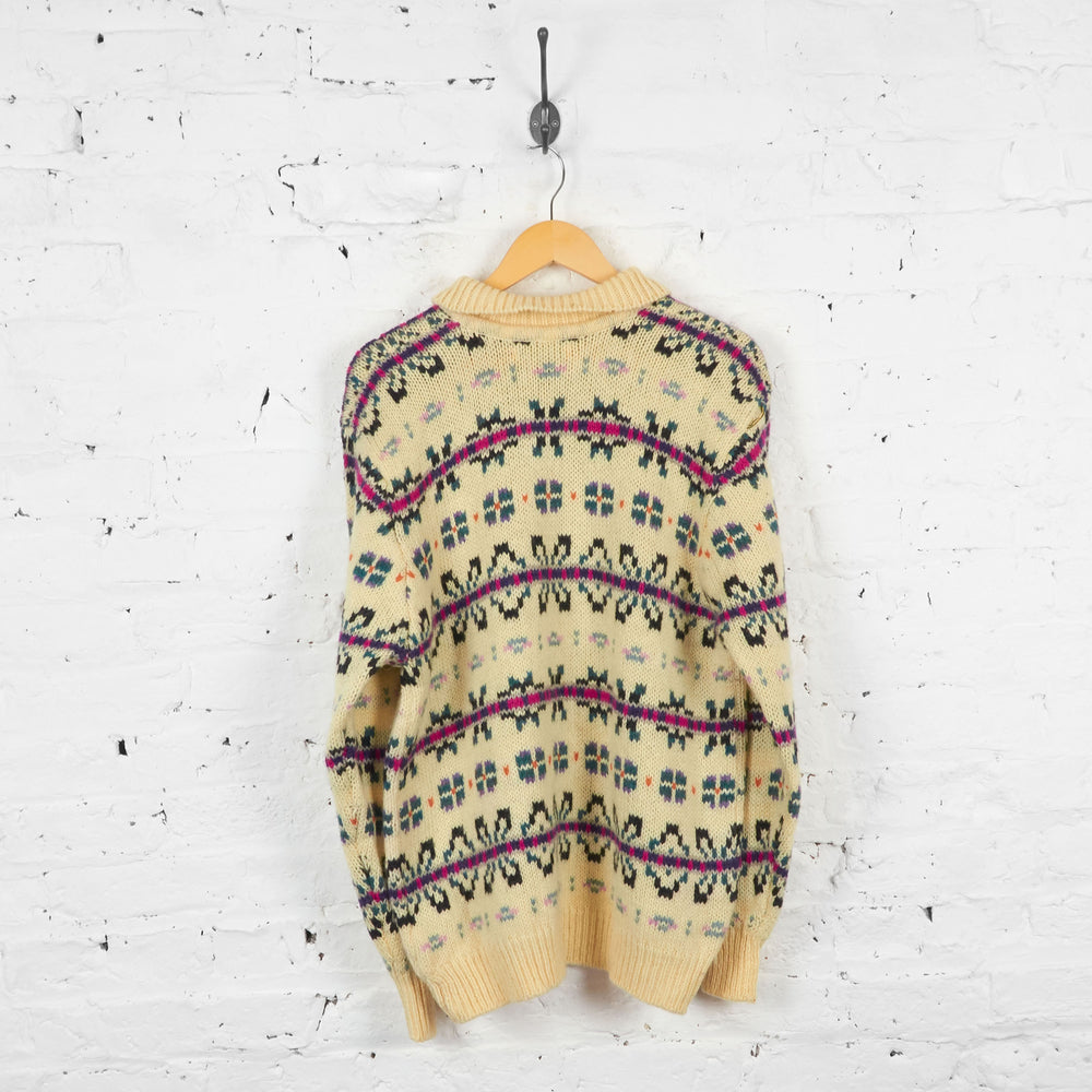 Vintage L.L Bean Collared Patterned Wool Jumper - Cream - XL