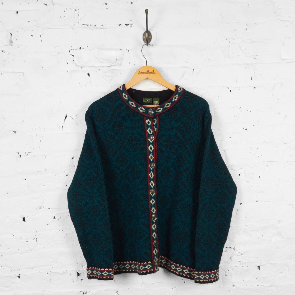 Vintage Women's L.L Bean Wool Cardigan - Green - L